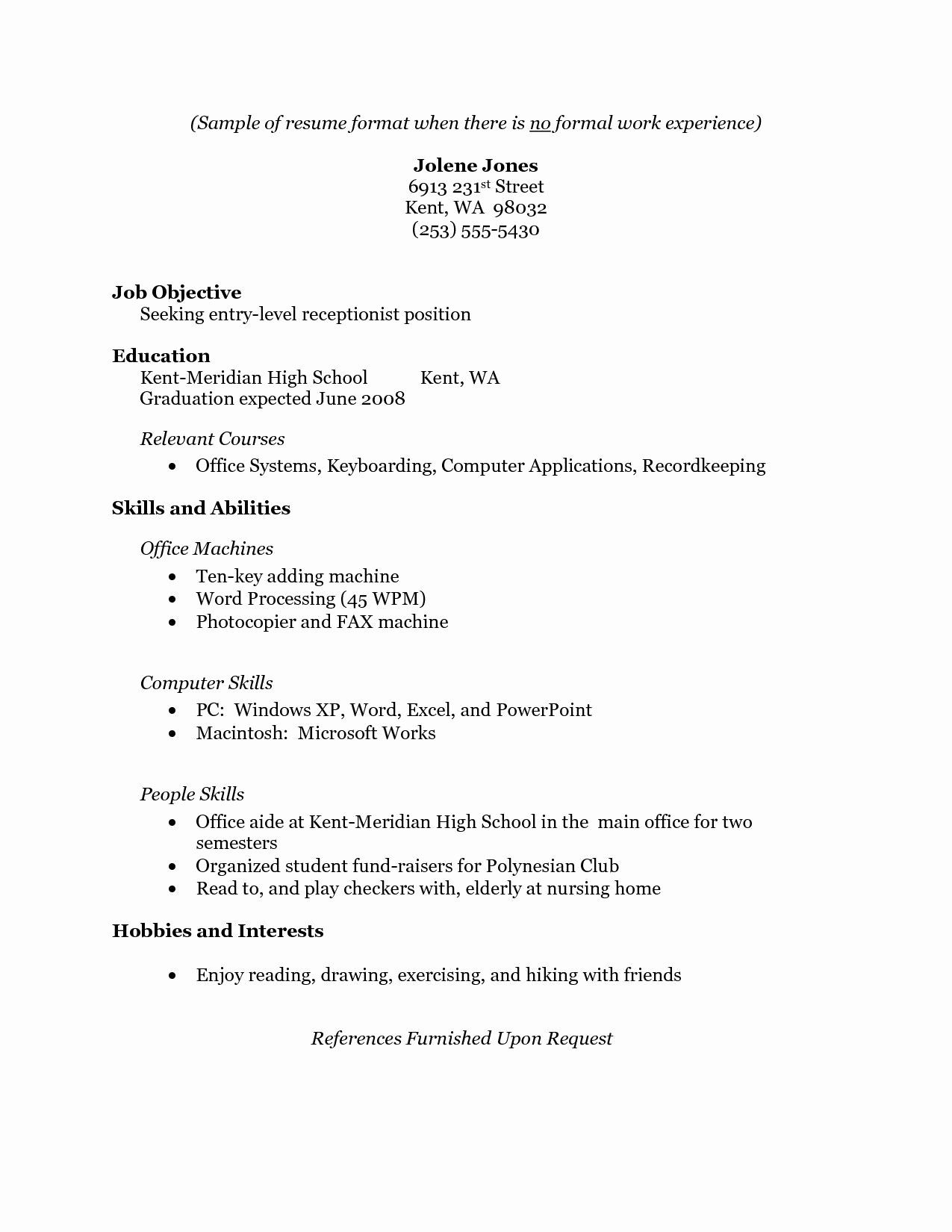 resume for receptionist with no experience printable template professional examples Resume Experience Professional Resume Examples