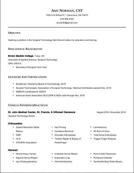resume for surgical technologist all about templates examples tech student cashier Resume Surgical Tech Student Resume
