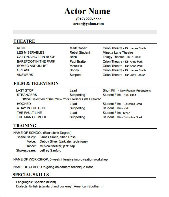 resume format actor acting template sample templates film awesome funny construction Resume Film Resume Template Download