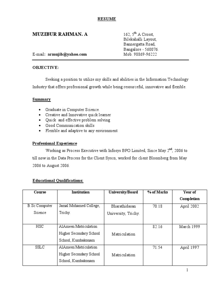 resume format for freshers btech cse bsc students chemistry student customer service Resume Resume Format For Bsc Students