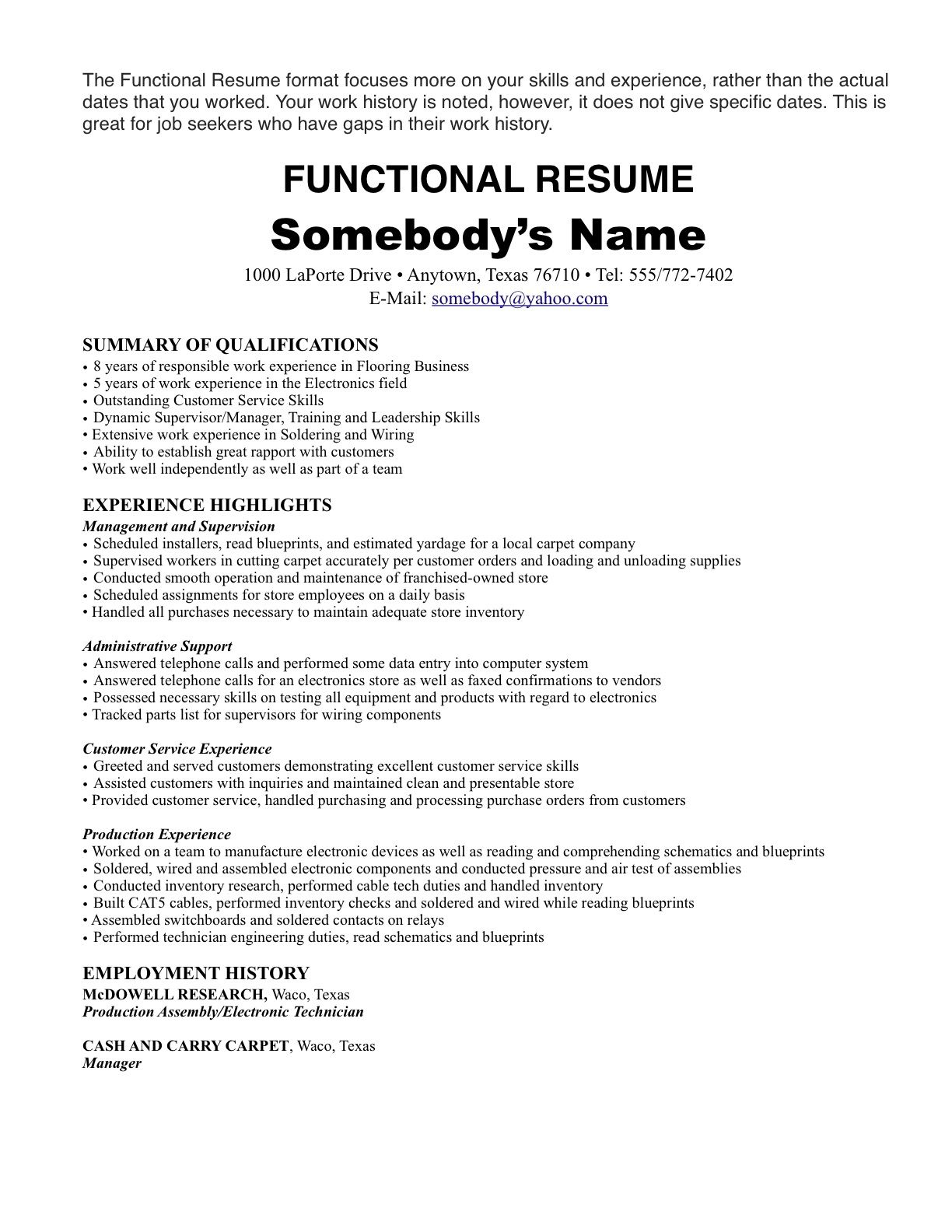 resume format one job templates template for history caretaker skills new professional Resume Resume Template For One Job History