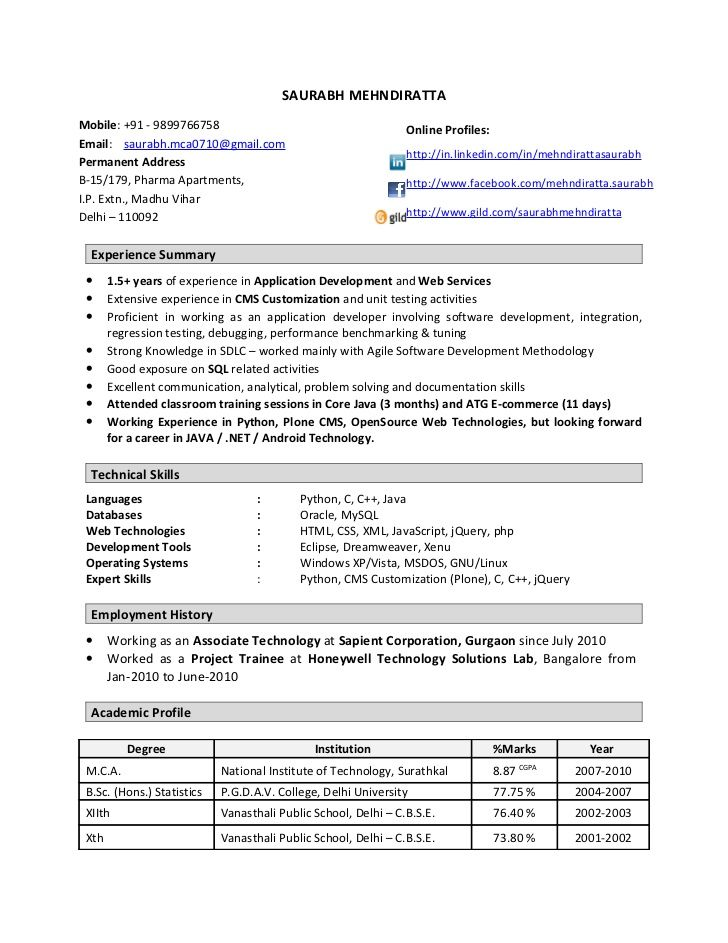 resume format year experienced software engineer job examples teacher template for Resume Resume Format For Software Engineer