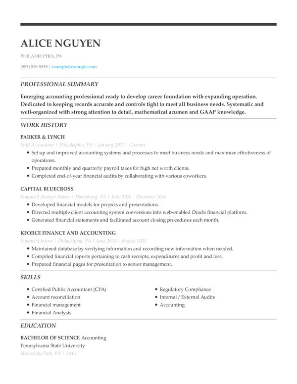 resume formats minute guide livecareer easy to read format chronological staff accountant Resume Easy To Read Resume Format