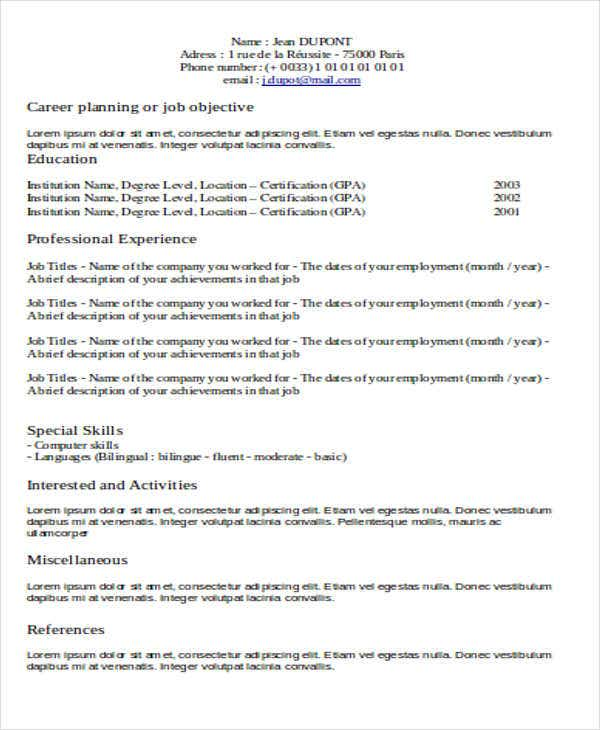 resume formats pdf free premium templates for all types of jobs experience professional Resume Resume For All Types Of Jobs