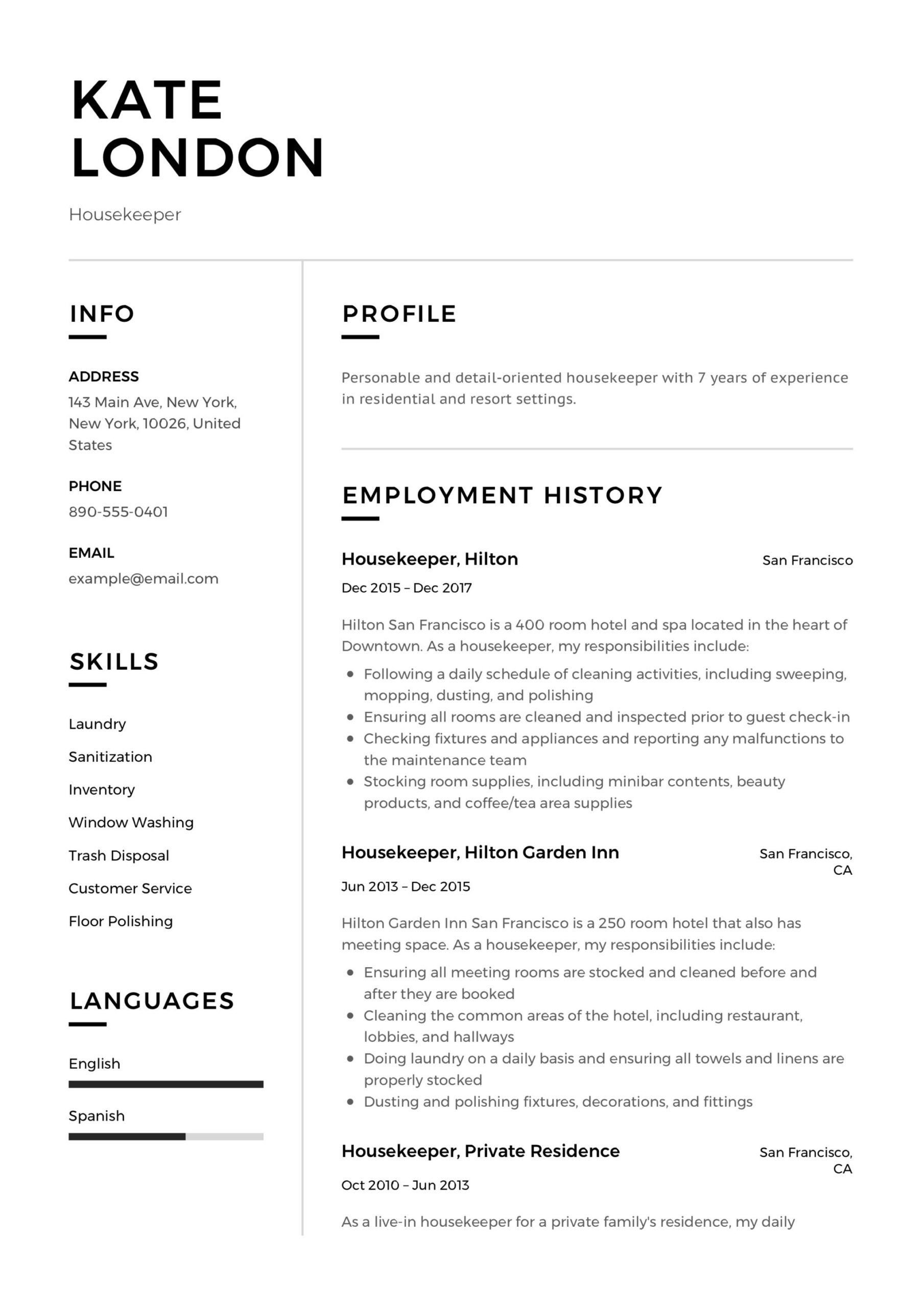 resume guide housekpeer samples pdf housekeeping template free kate london housekeeper Resume Housekeeping Resume Template Free
