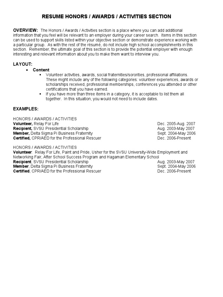 resume honors awards activities section overview and scholarships on value proposition Resume Awards And Scholarships On Resume