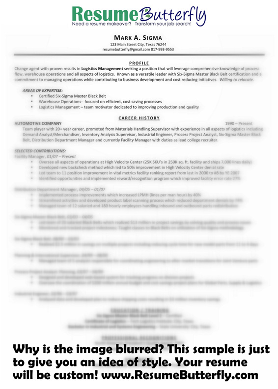 resume makeover after butterfly manager six sigma transform your job search experienced Resume Certified Six Sigma Black Belt Resume