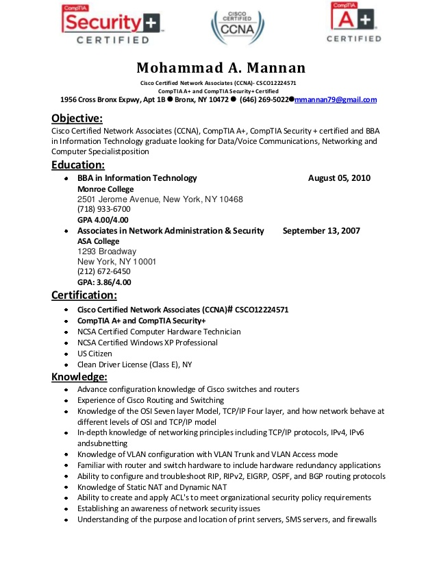resume of mohammad mannan ccna network engineer sample optometric assistant technology Resume Ccna Network Engineer Resume Sample