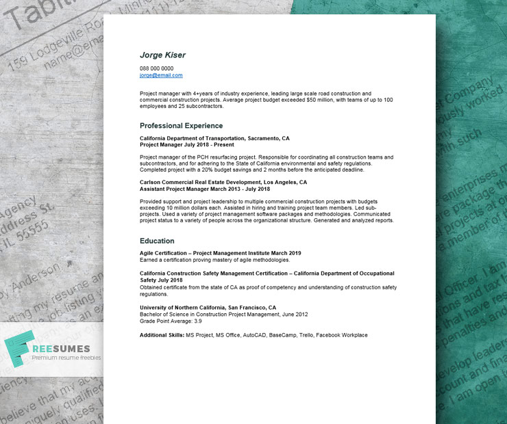 resume of project manager construction carlson school management template example for Resume Carlson School Of Management Resume Template