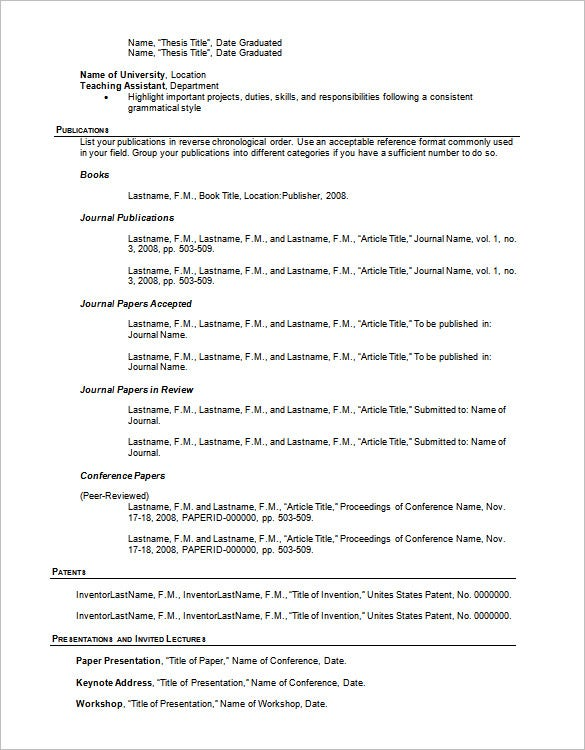 resume outline templates samples pdf free premium paper publications and presentations Resume Paper Publications And Presentations Resume