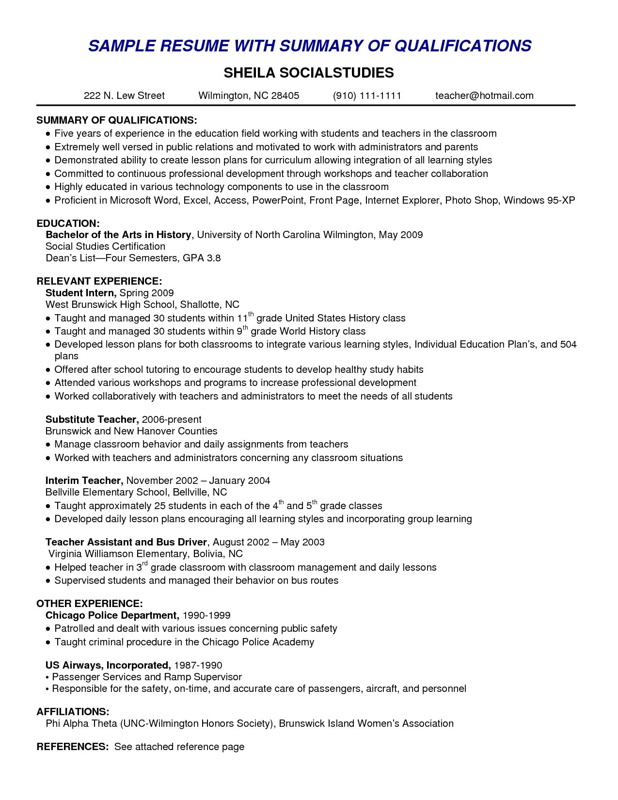 resume qualification summary on sample examples for nightclub manager template pdf Resume Resume Template With Summary Of Qualifications