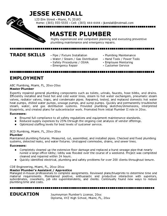resume sample for plumber resumesdesign job cover letter examples trade jobs example Resume Resume For Trade Jobs