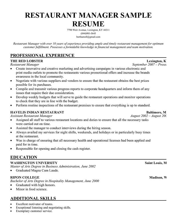 resume samples and to write companion restaurant manager sample entry level tax Resume Restaurant Manager Resume Sample