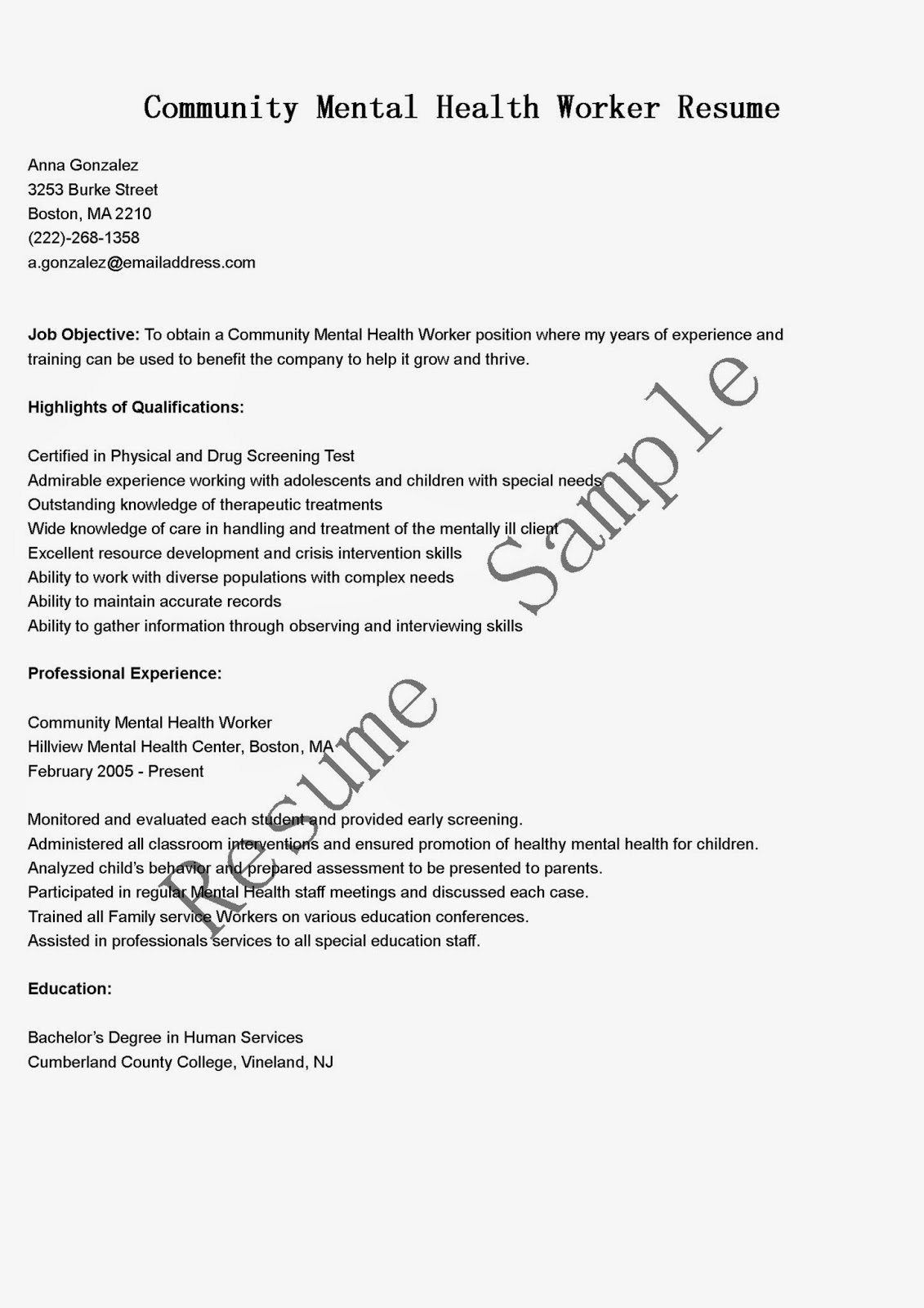 resume samples community mental health worker sample objective for mba examples college Resume Objective For Mental Health Resume