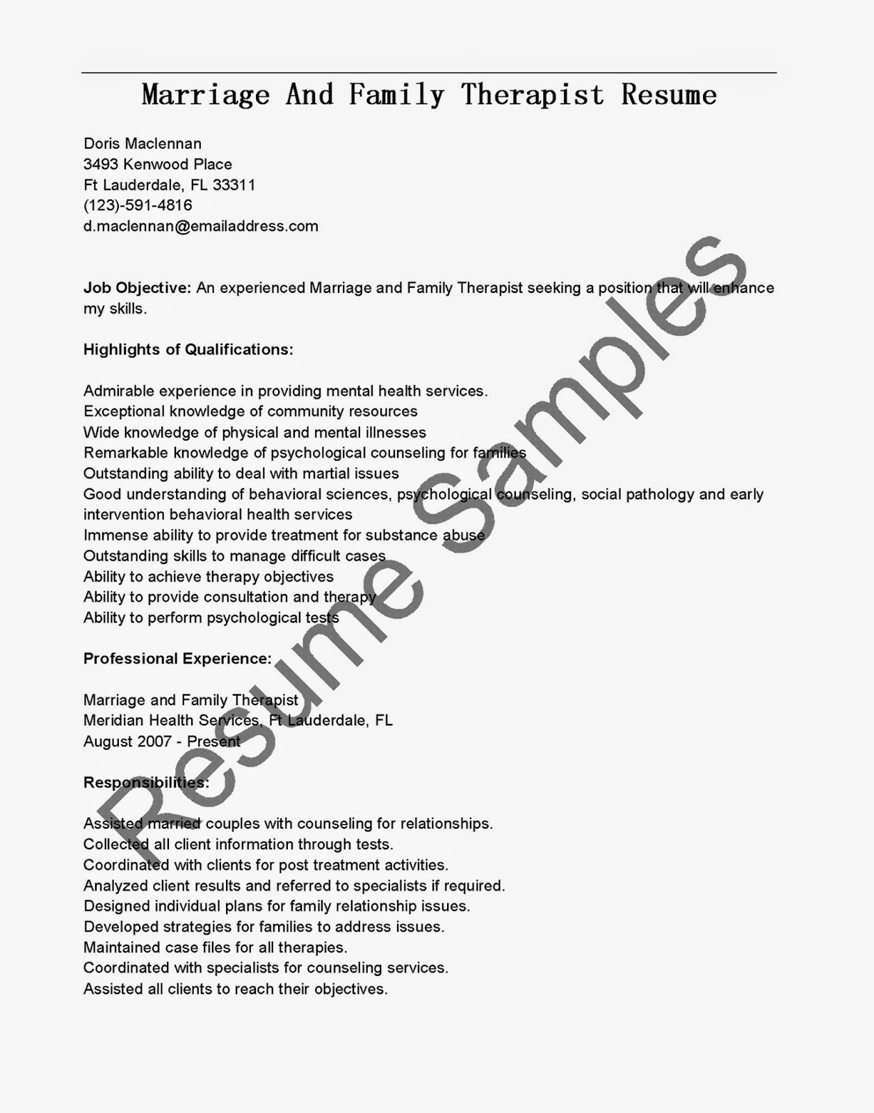 resume samples marriage and family therapist highlights sample for experienced marketing Resume Marriage And Family Therapist Resume