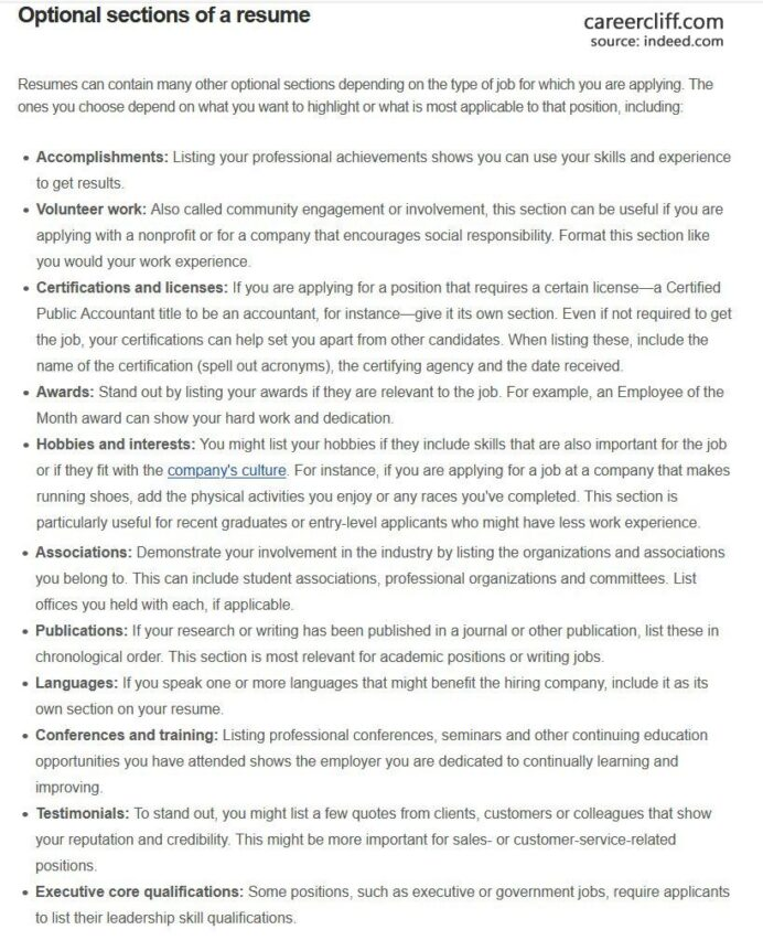 resume sections order headers and template that stand out career cliff education section Resume Resume Education Section Examples