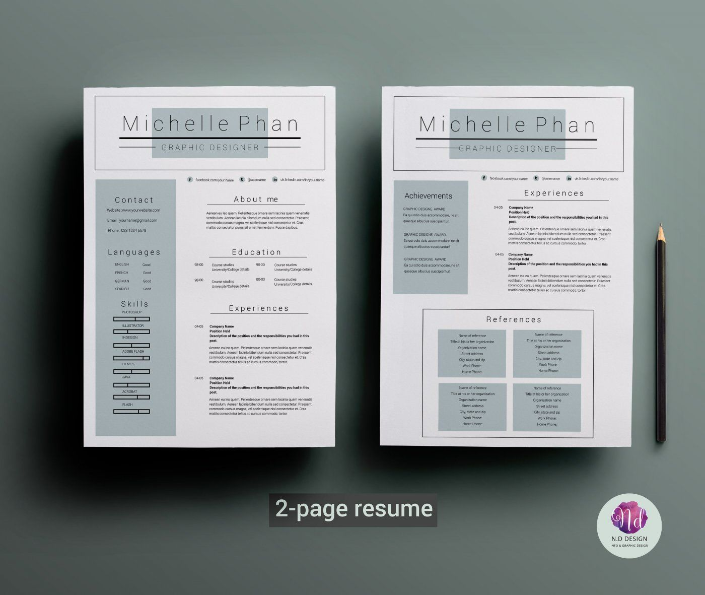 resume template coverletter by chic templates thehungryjpeg format ori optimization Resume 2 Page Resume Format