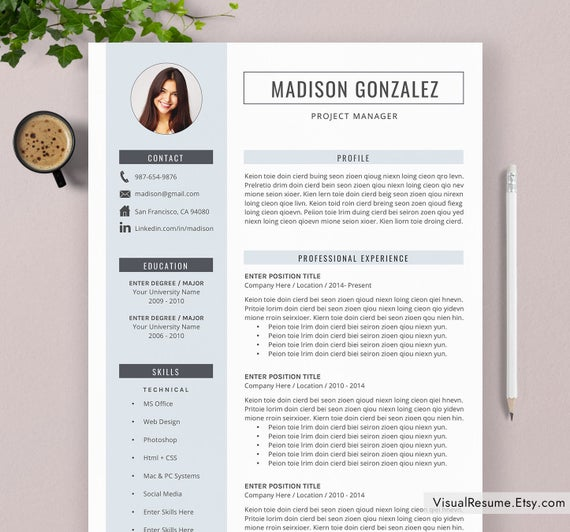 resume template cv for word professional etsy il 570xn lpdx lpn sample medical Resume Professional Resume Template 2020