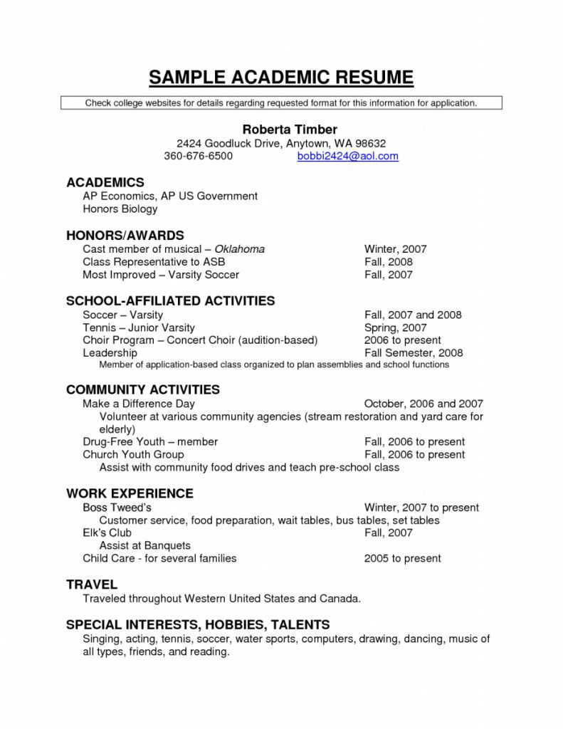 resume template for students proper examples sample academic academics of in student high Resume Tennis Resume For College
