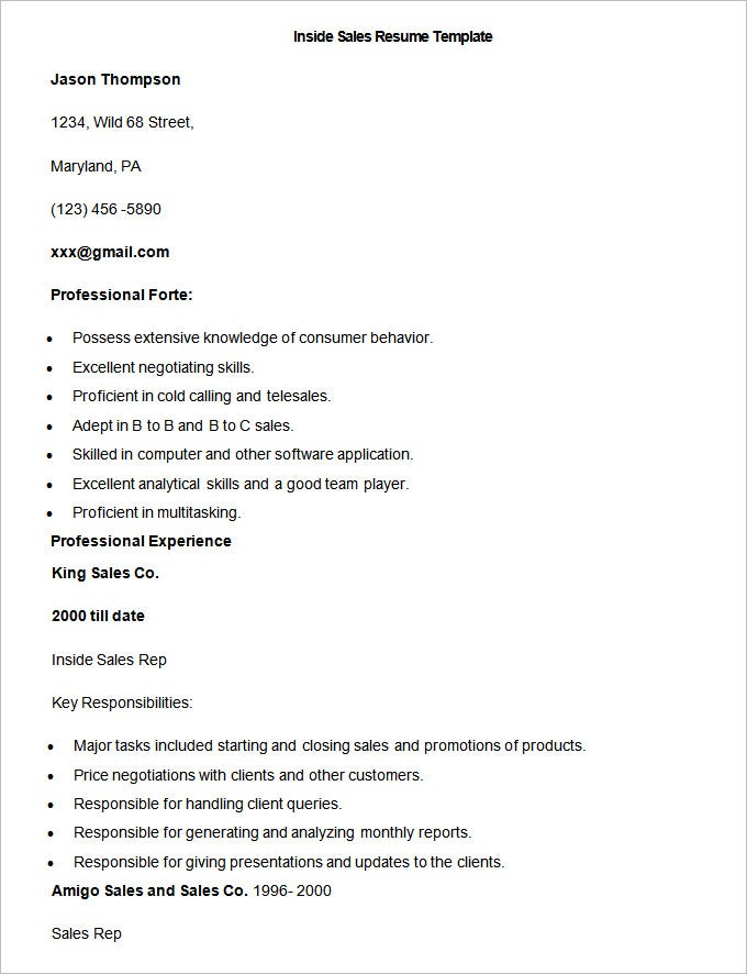 resume template free samples examples format premium templates inside sample template1 Resume Inside Sales Resume Template