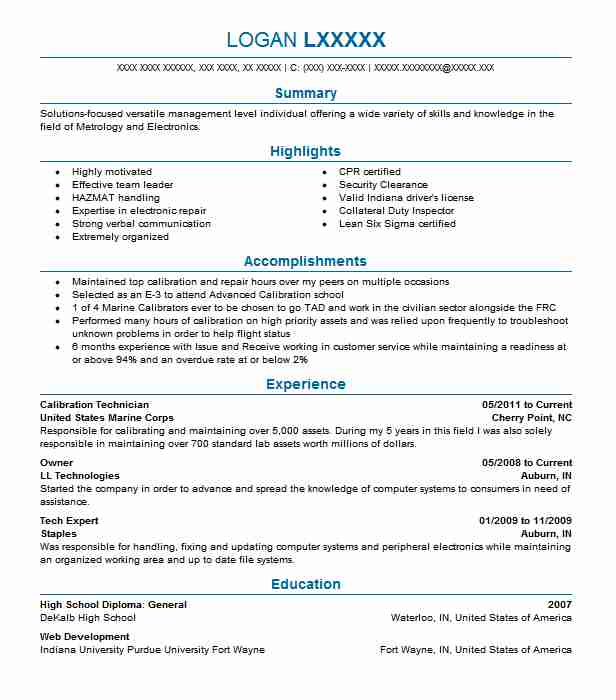 resume templates calibration manager sample technician elevator pitch examples direct Resume Calibration Technician Resume Sample