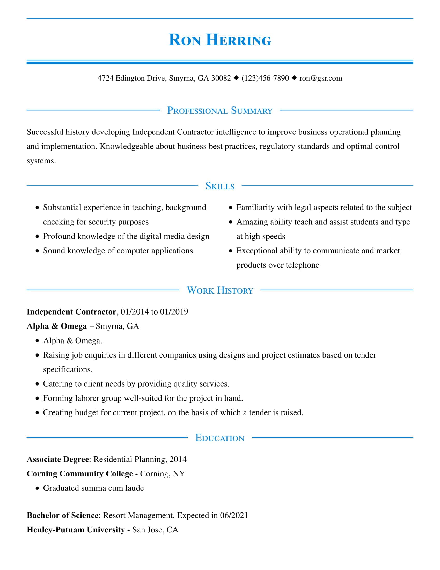 resume templates edit in minutes free two column template word refined blue insurance Resume Free Two Column Resume Template Word