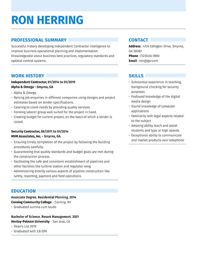 resume templates edit in minutes free two column template word strong blue unit secretary Resume Free Two Column Resume Template Word