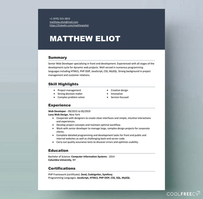 resume templates examples free word professional template it middle school student lpn Resume Professional Resume Template 2020