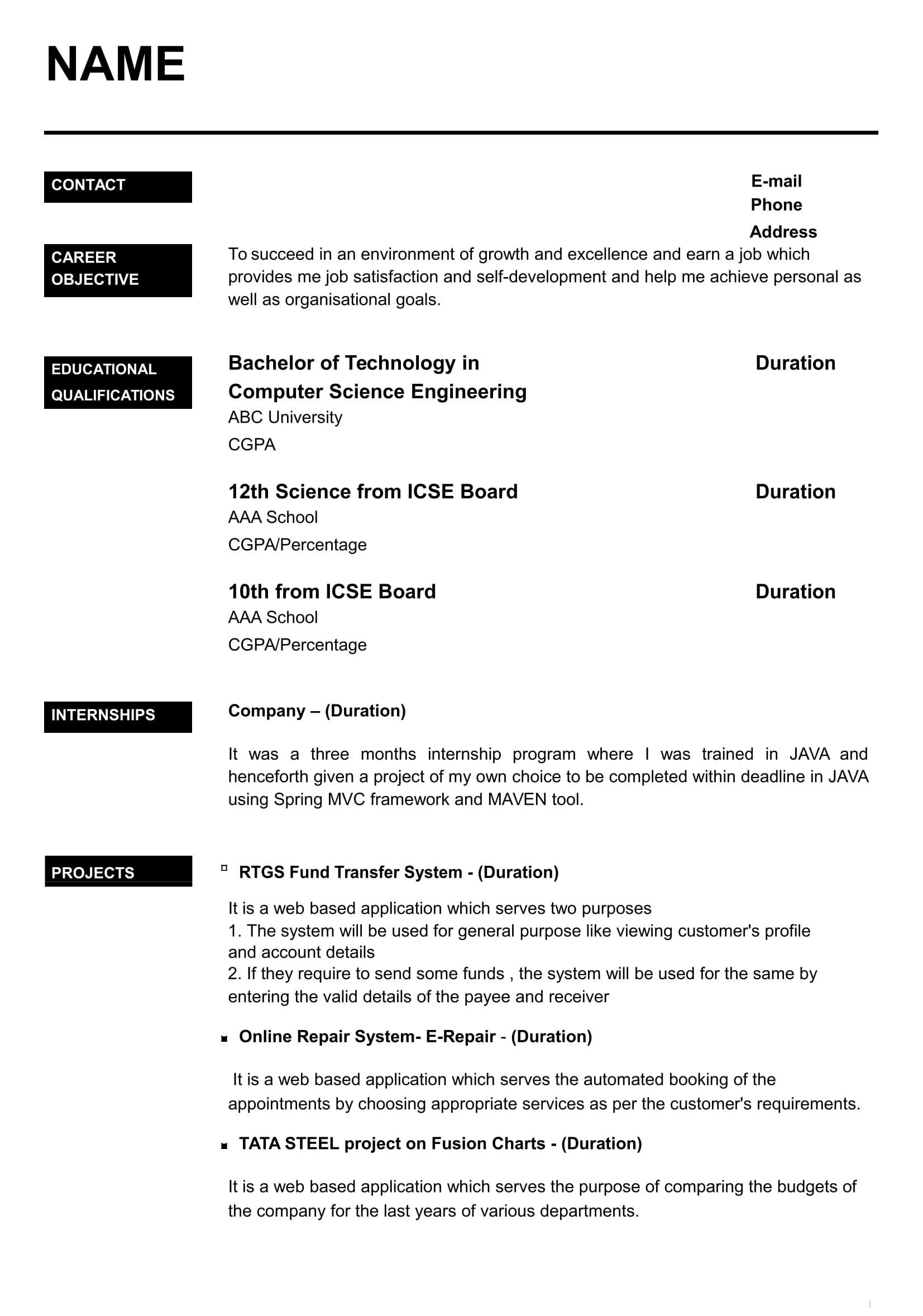 resume templates for freshers free word format awesome job template best layout of Resume Layout Of Resume For Freshers