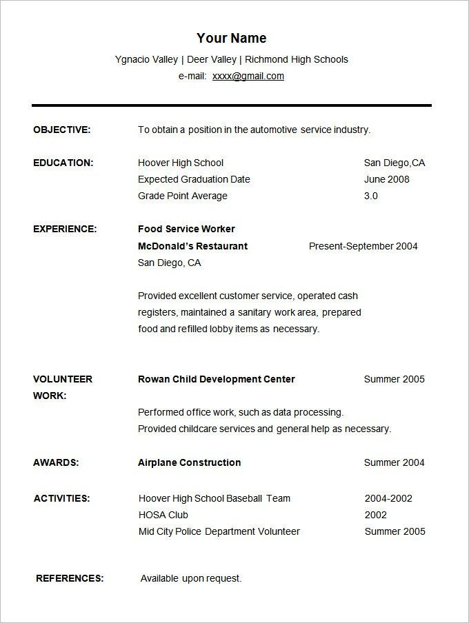 resume templates for students student high school template cv format movie theater sample Resume Resume Format For Students