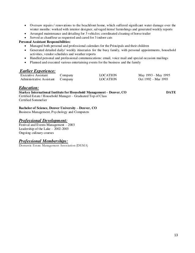 resume templates for the modern household manager private estate student athlete indesign Resume Private Estate Manager Resume