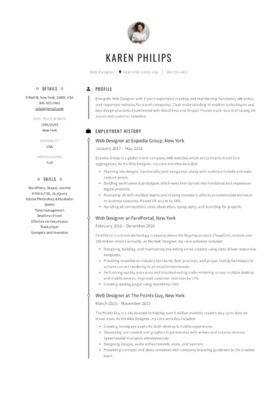 resume templates pdf word free downloads and guides examples karen philips web designer Resume Free Resume Examples 2020