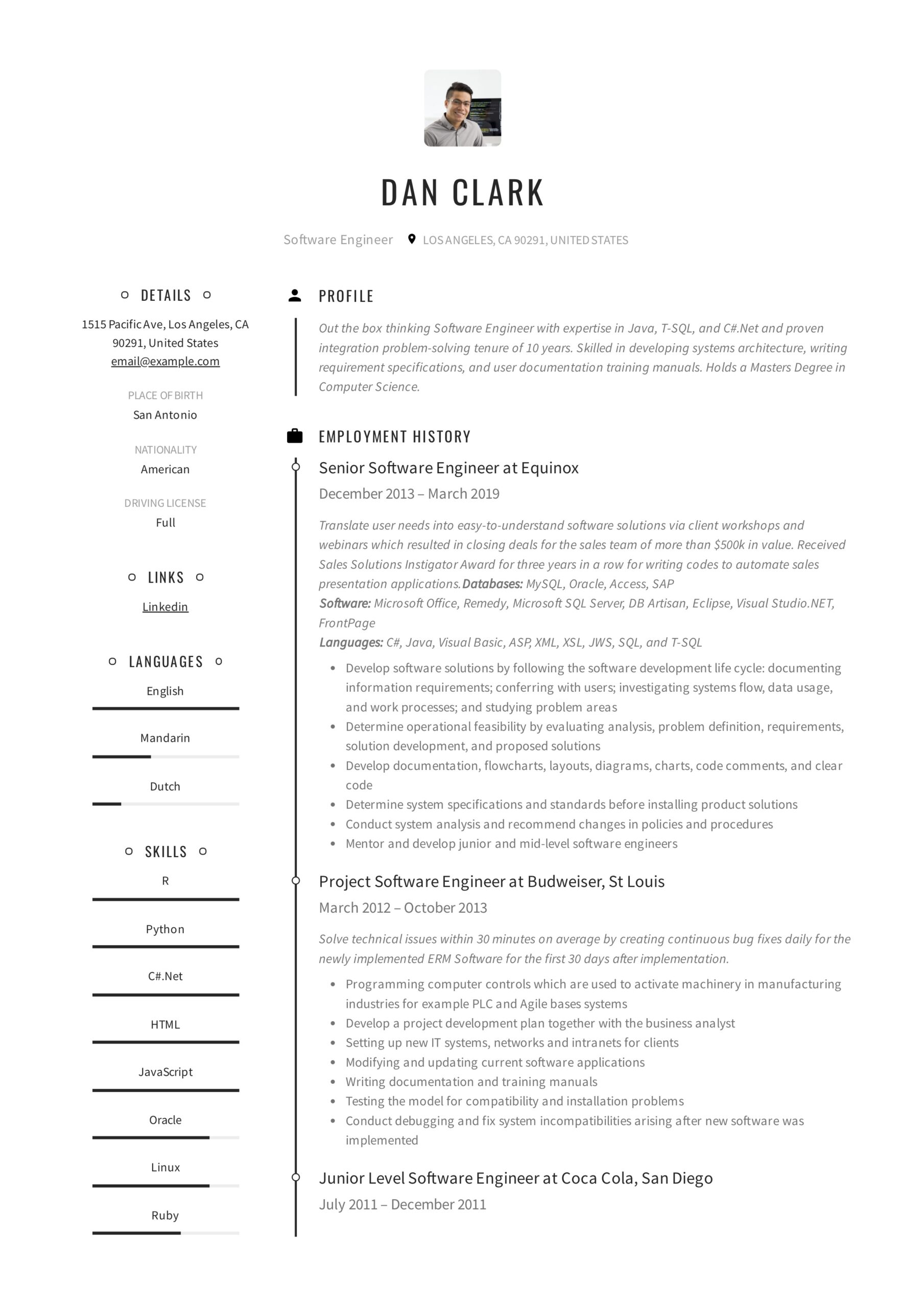 resume templates pdf word free downloads and guides for dan software engineer objective Resume Free Resume Templates For 2020