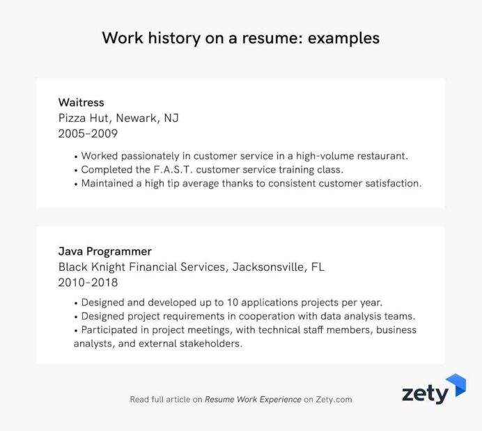 resume work experience history example job descriptions previous on examples summary for Resume Previous Job Experience Resume