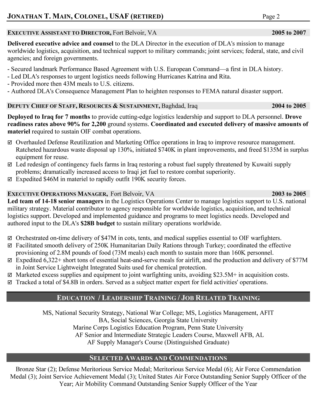 resume writing services for retired military to civilian resumes logistician executive Resume Military To Civilian Resume Writing Services