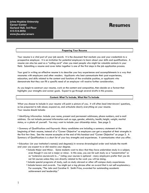 resumes johns university describe yourself in your resume speaker correct format good Resume Describe Yourself In Your Resume