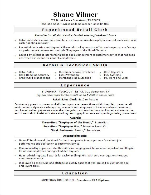 retail clerk resume sample monster job template accounting assistant responsibilities Resume Retail Job Resume Template