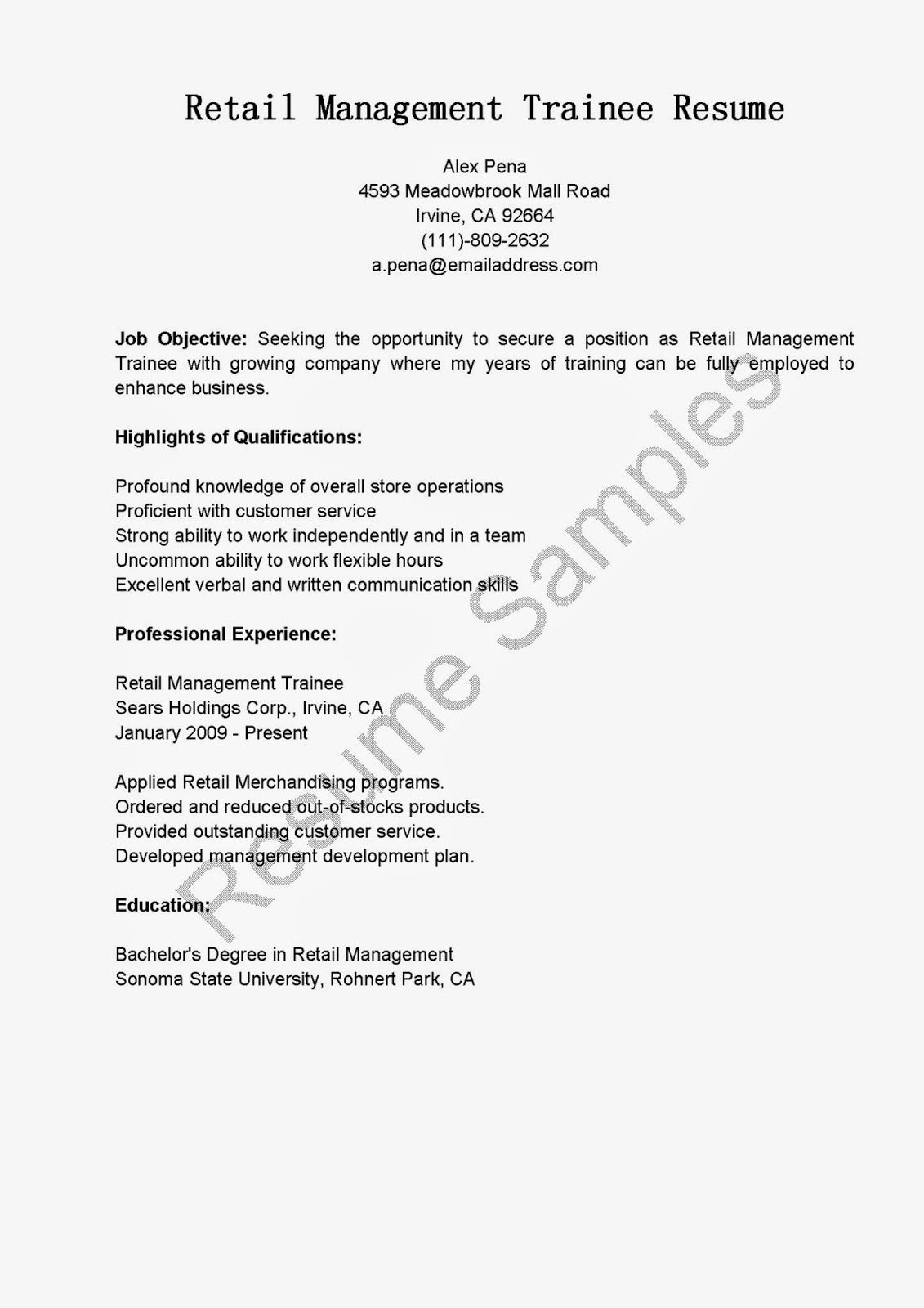 retail management trainee resume sample format for construction objective examples Resume Resume Format For Management Trainee