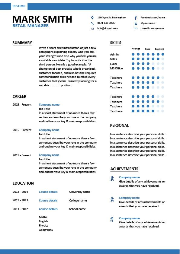 retail manager cv template resume examples job description management samples pic modern Resume Store Manager Resume Examples