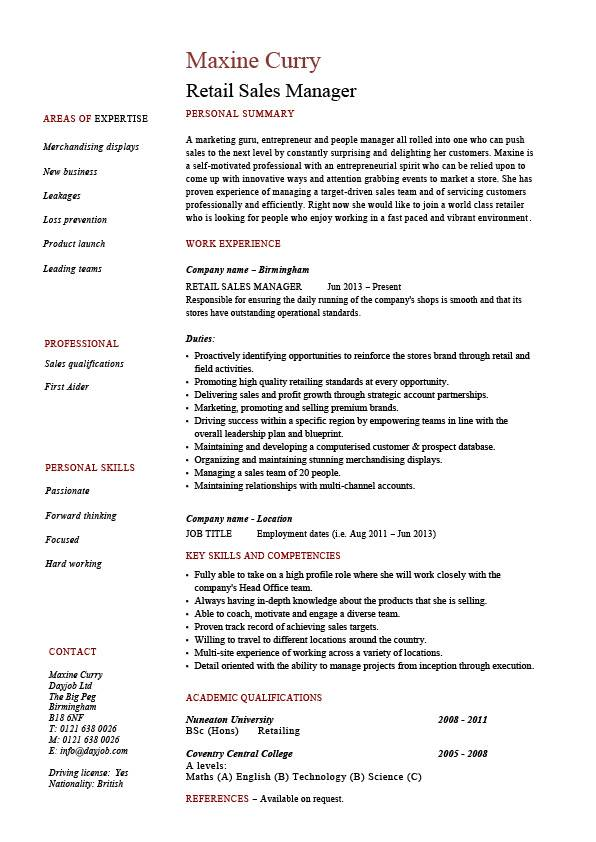 retail manager resume example job description sample template marketing business pic Resume Retail Job Resume Template