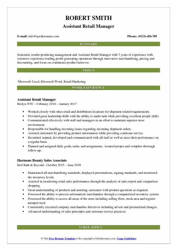 retail resume samples examples and tips summary statement assistant manager pdf forklift Resume Resume Summary Statement Examples