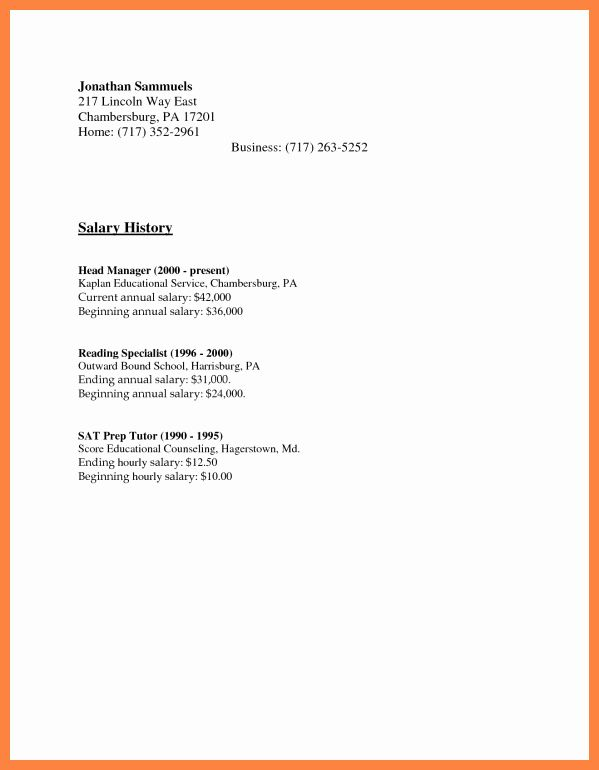 salary requirement sample letter new history examples cover for resume requirements Resume Resume Salary History Example