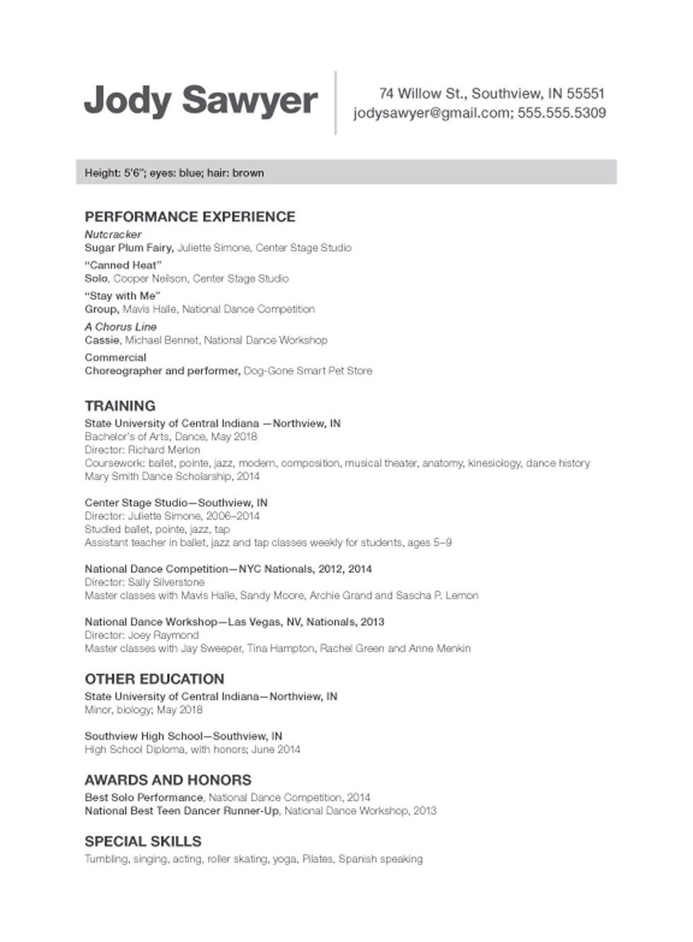 sample dance resume cover letter examples actor audition beginner actors template acting Resume College Dance Resume Template