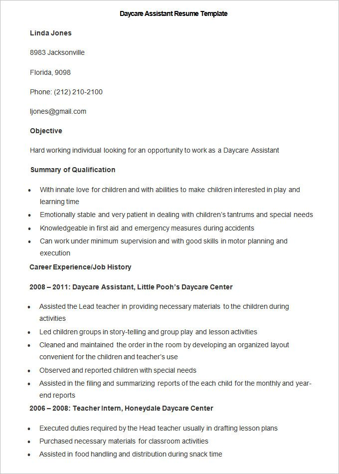 sample daycare assistant resume template to make good teacher there are free teachers Resume Daycare Teachers Assistant Resume