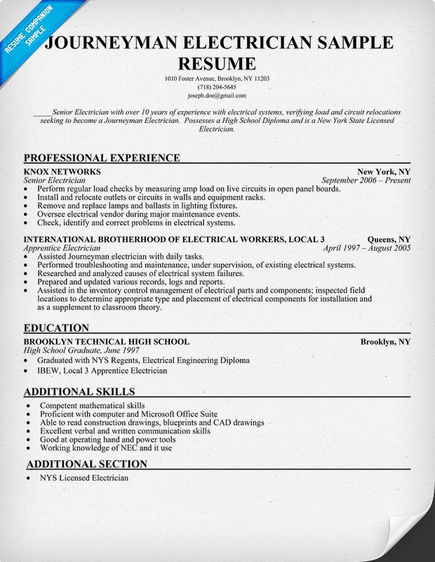 sample journeyman electrician resume cover letter examples for apprentice clinical Resume Apprentice Electrician Resume Examples