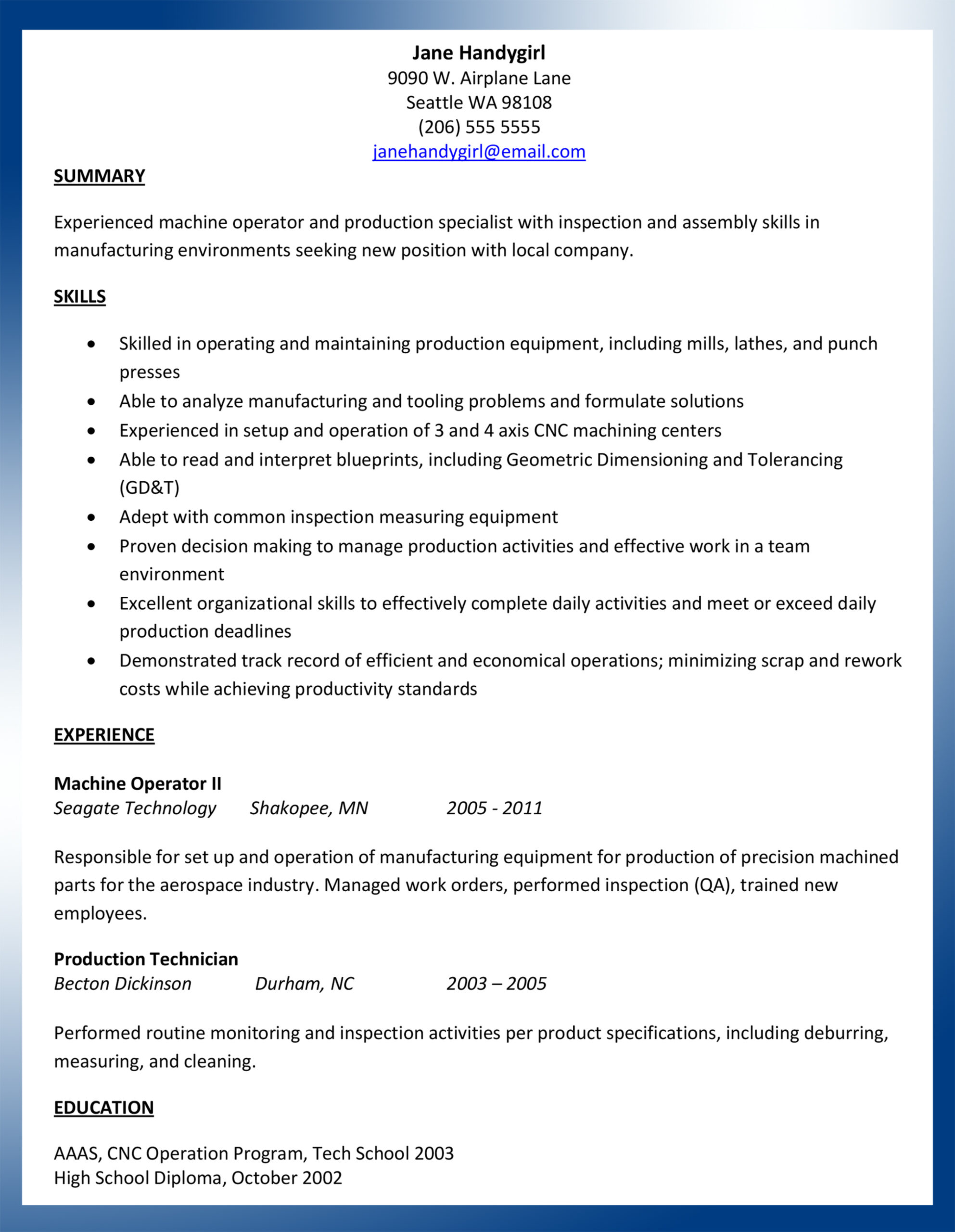 sample machinist resume ajac cnc operator with research experience healthcare Resume Cnc Operator Resume Sample
