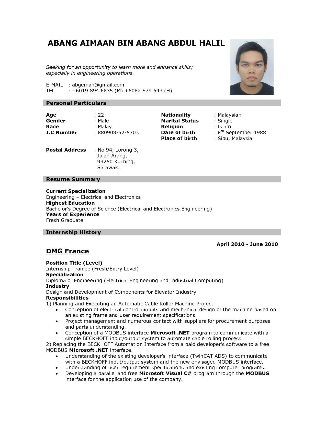 sample of resume format for job application template example to apply can you put Resume Example Of Resume To Apply Job