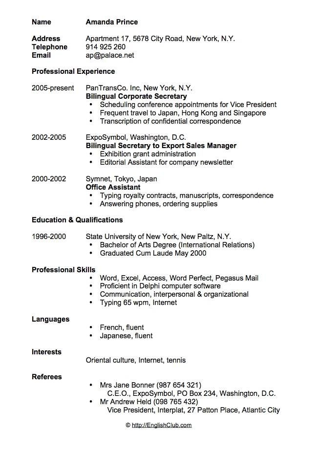 sample resume cv for secretary format template free controller samples mcdonalds manager Resume Secretary Resume Format
