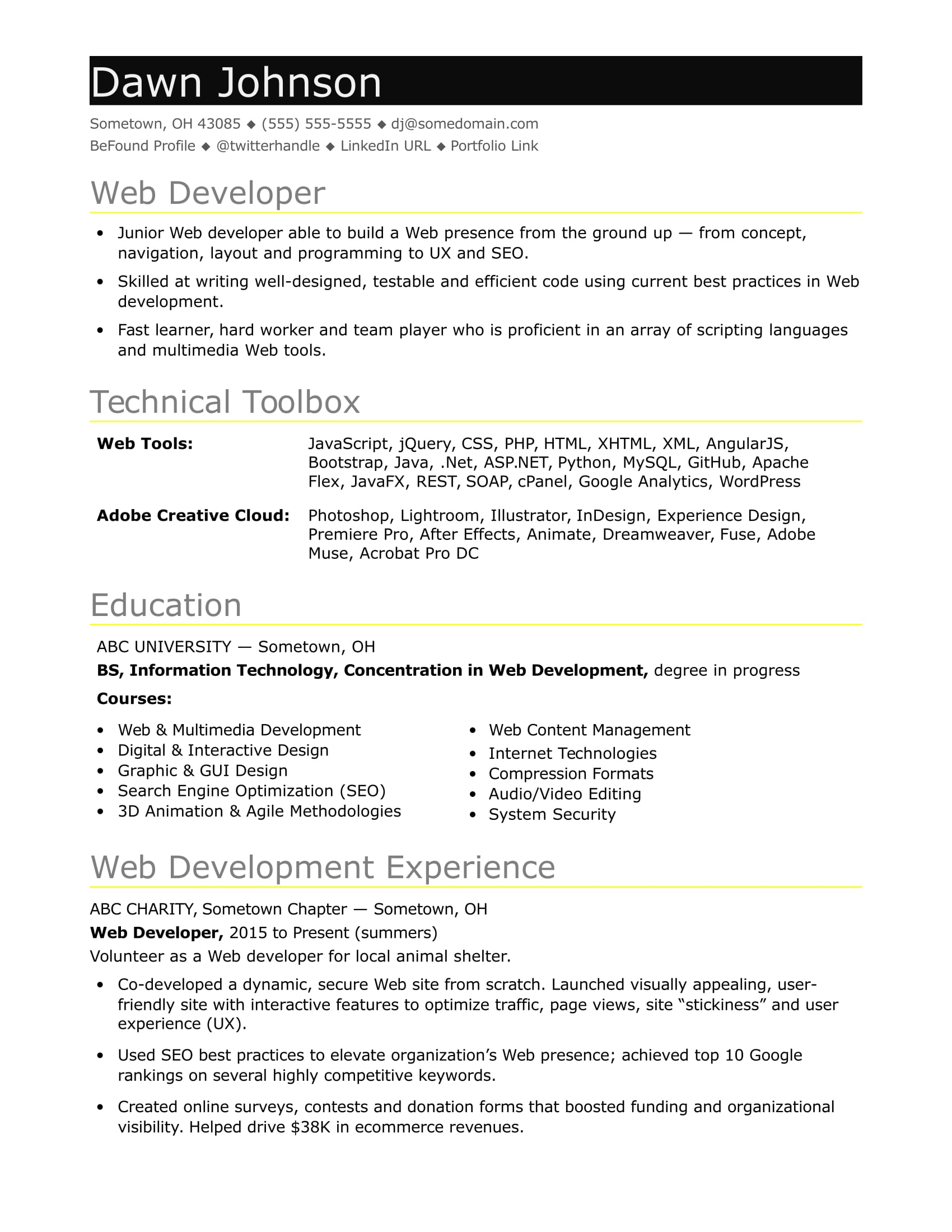 sample resume for an entry level it developer monster web fresher work abroad college Resume Sample Resume For Web Developer Fresher