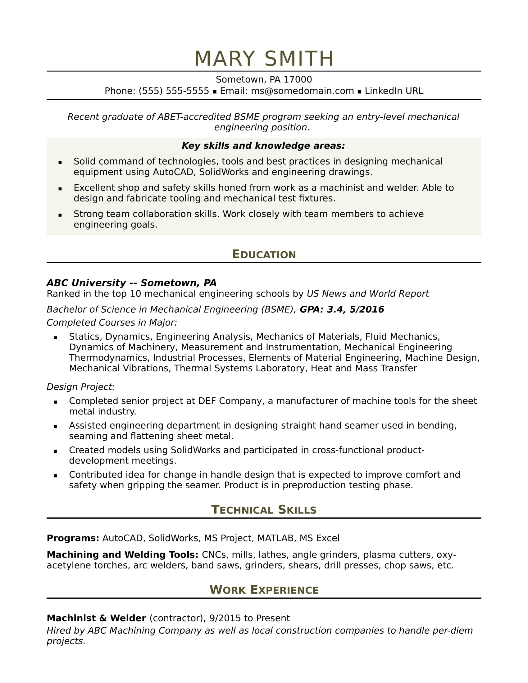 sample resume for an entry level mechanical engineer monster spring boot save company Resume Mechanical Engineer Resume Sample